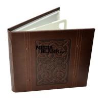 Carcasa 4 DVD Piele Ecologica Maro Lux cu model LINE
