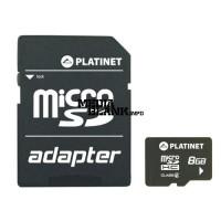 Card de memorie microSDHC Platinet 8GB clasa 6 cu adaptor SD
