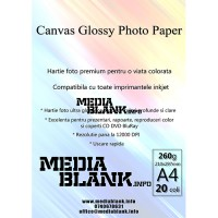 Hartie Foto Canvas Lucioasa A4 260gsm 20 coli / set Glossy