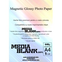 Hartie Foto Magnetica Lucioasa A4 640gsm 5 coli / set Glossy