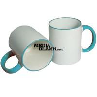 Personalizare - sublimare Cana Alba Ceramica cu margine si maner colorat